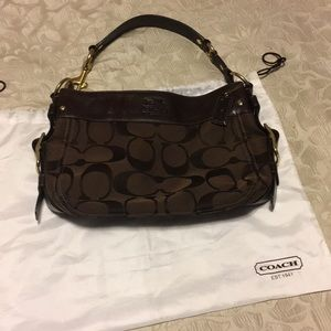 Coach Zoe brown signature logo bag